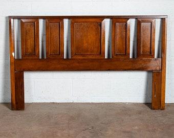 Mid Century Modern Headboard Queen Size Bed Frame Walnut Wood Slat Vintage Mcm