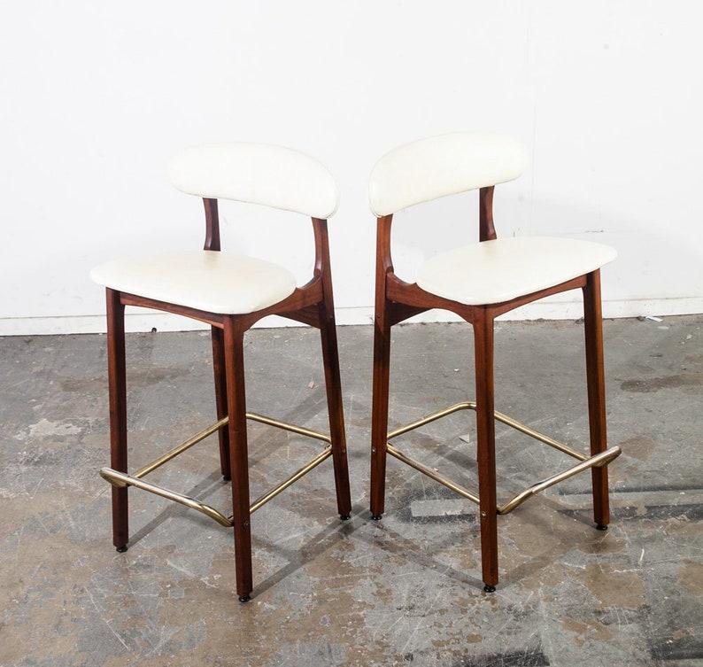 2757d54062afa Mid Century modern Bar Stools Pair Set Knoll Greta Grossman