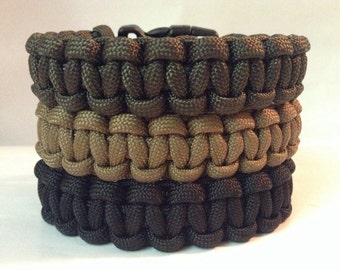 Lot of 3 550 Paracord Survival Bracelets   Black, Olive Drab, and Coyote Brown Paracord (See description for size suggestion)