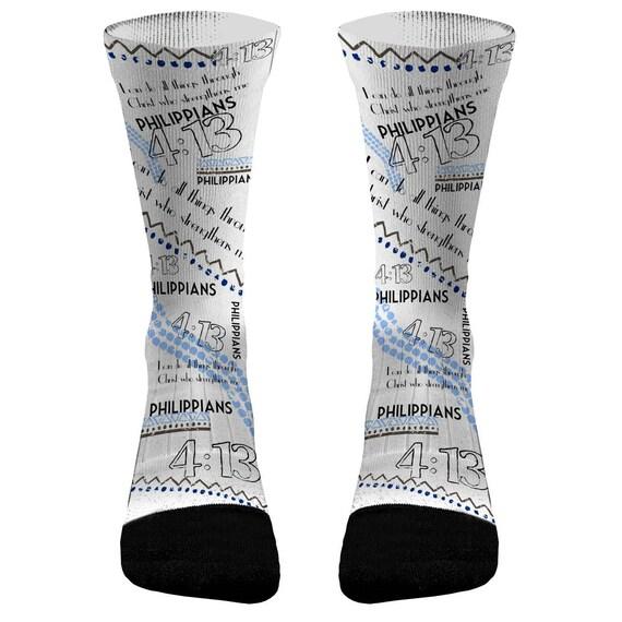 242b81c624f1 Philippians 4 13 Blue Custom Compression Dri-Fit Socks