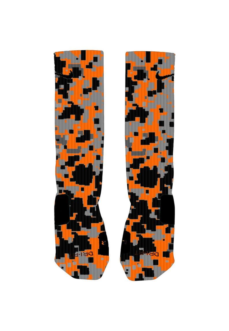548ac38e8 Black Gray and Orange Digital Camo Custom Nike Elite Socks | Etsy