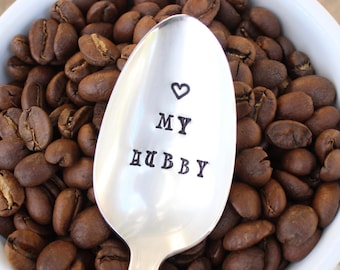 Hand Stamped Spoon - Love my Hubby - Heart My Husband - Gift for Him - Ice Cream Peanut Butter Spoon - Stocking Stuffer - Christmas Gift