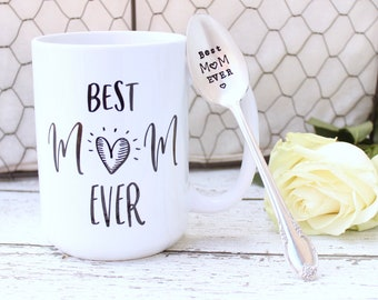 Best Mom Ever Spoon Mug Gift Set - Handstamped Statement Cup Coffee Tea - Mother's Day - Grandma Mama Nana - For Her - 11 . 15 oz Available