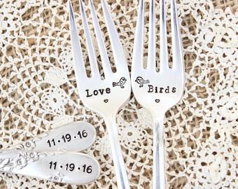 Love Birds Wedding Forks  - Hand Stamped Cake Fork Set - Custom - Vintage Silver Flatware - Reception Silverware - His Hers - Mr. Mrs.