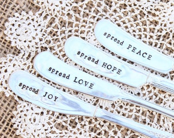 Spreader Set - Hand Stamped - LOVE Peace HOPE Joy - Four (4) - Vintage Silver plated Silverware - Butter Cheese Peanut Knife Knives Char