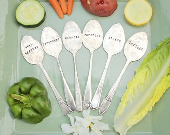 Plant Garden Markers - Set of Six 6 Spoons Veggie Labels - Garden Art - Vegetables - Antique Silver Plated - Hand Stamped - Rustic - Custom