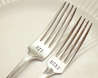 Mismatched Wedding Cake Forks - Hand Stamped - Mr. Mrs. - His Hers - Bride Groom - I Do Me Too - Mine Yours - Budget Bride