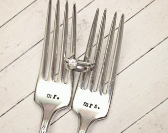 Mrs. and Mr. Wedding Forks - Hand Stamped Silverware Personalized Name Date - Vintage - Dinner Cake Forks - His and Hers - Bride Groom Gift