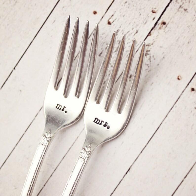 Mr. Mrs. Wedding Forks  Handstamped Set  Vintage Silver image 1
