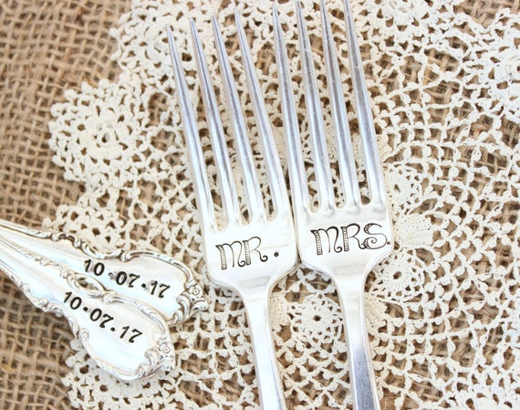 vintage silverware hand stamped wedding fork cake fork I Am Yours  You Are Mine