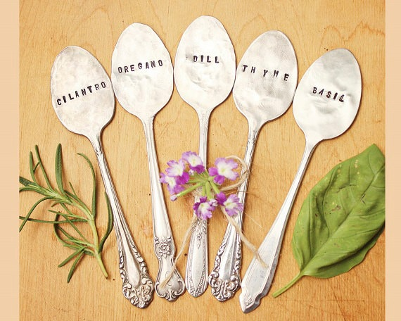 Plant Garden Herb Markers Spoon - Set of FIVE - Antique Silverplate - Hand Stamped - Mothers Day - Custom - Gardener Gift - Vintage - OOAK