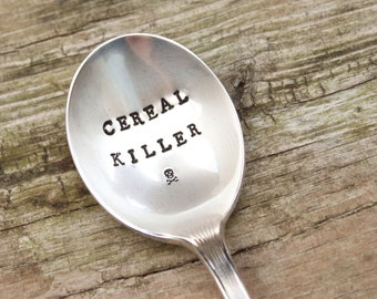 Cereal Killer Spoon - Skull and Crossbones - Vintage Handstamped - Stocking Stuffer - Gifts for him her Christmas - Sustainable Reusable Fun