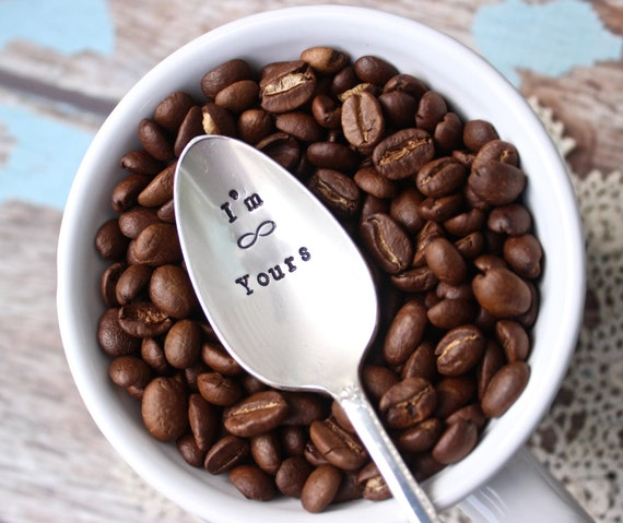 Gift for Her Coffee Lovers Not a Morning Person with Skull and Crossbones Gift for Him Upcycled Silverplate Hand Stamped Teaspoon