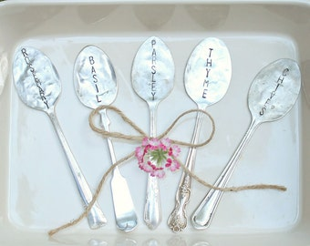 Large Print Easy to Read Spoon Garden Veggie Markers - Set of 5 -  Hand Stamped - Rustic - Custom - Vegetable Labels - Antique Silver Plated