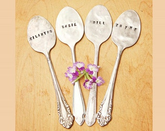 Plant Markers - Set of FOUR Vintage Spoon Garden Herb Tags - Antique Silverplate - Hand Stamped - Rustic - Custom - Handstamped Spoon
