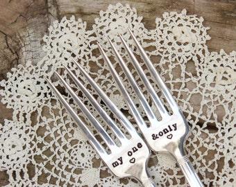 My One and Only Wedding Forks Bride Groom - Cake Dinner - Hand Stamped - Vintage Silver Plated Flatware - Mr Mrs