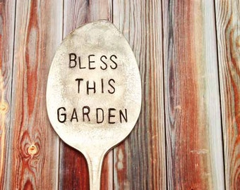 Bless This Garden Vintage Spoon Herb Garden Plant Marker - Extra Large - Antique - Handstamped Hand Stamped - Mother's Day Gift