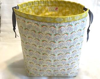 Rainbow Elephant ShawlSack Medium Sized Knitting Bag Drawstring Project Bag