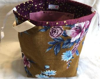 Outback Wife Barkcloth Large Sweater Size Drawstring Knitting Bag