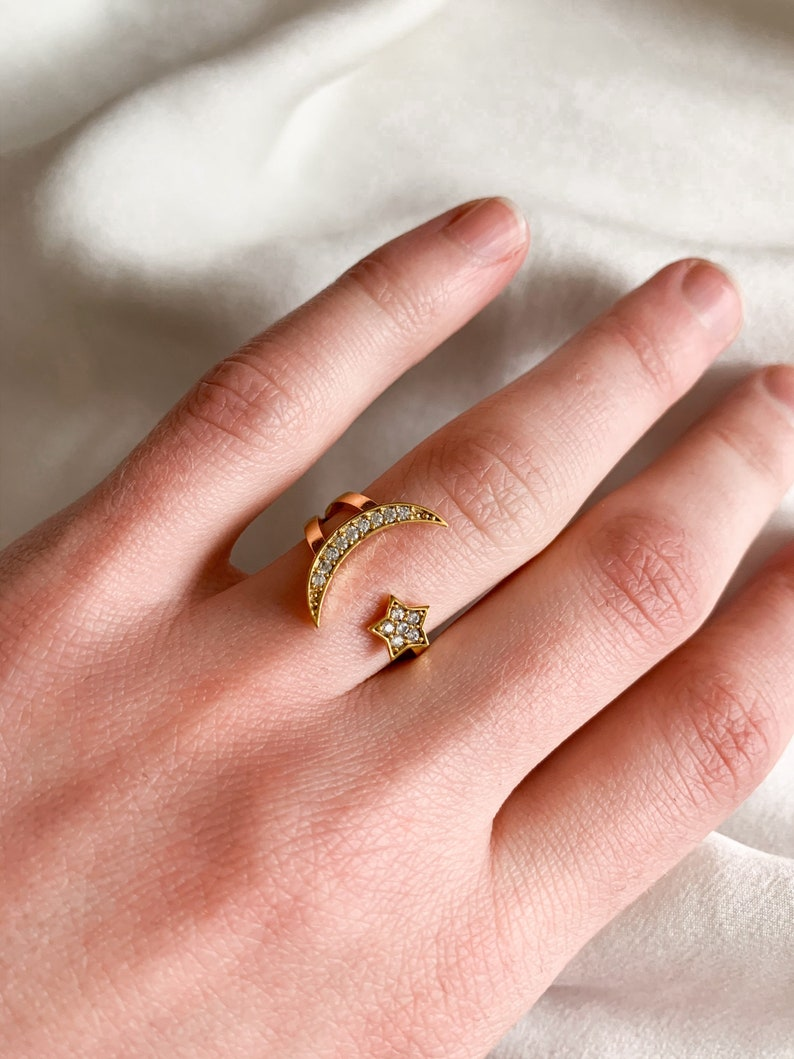 Gold Adjustable Star and Moon Ring Stacking Celestial Ring One Size Fits Most
