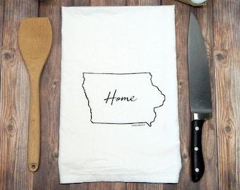 Iowa Home Hand Printed Flour Sack Tea Towel