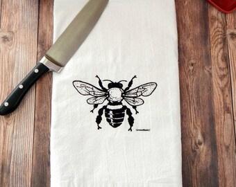 Bee Tea Towel, Bee Flour Sack Towel, Mothers Day Gift, Bee Kitchen Towel