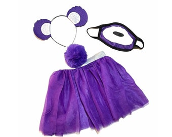 Dark Purple Headband Tutu Tail Face Mask Bear Ears birthday party favors women womans girl costume care colorful baby babies kid child adult