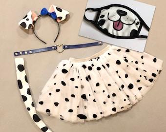 Dalmatian Puppy Dog Ears Headband Tutu Tail Face Mask black white spots Dalmation Halloween costume baby children adult birthday party