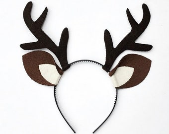 Antlers with ears deer elk reindeer headband birthday party Rudolf toddler child baby adult animal woodland Stocking Stuffer Christmas Gift