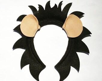 05530b272 Black Lion ears and mane headband birthday party favors supplies Halloween  Costume hat kid child children adult baby king jungle animal
