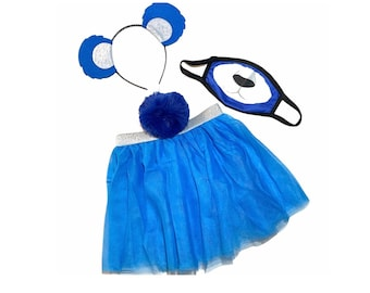 Royal Blue Headband Tutu Tail Face Mask Bear Ears birthday party favors womens womans girl costume care colorful baby babies kid child adult