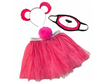 Hot Pink Headband Tutu Tail FaceMask Bear Ears birthday party favors womens womans girls costume care colorful baby babies kid child Adult