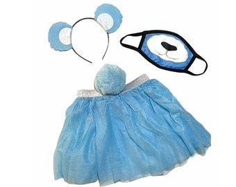 Light Blue Headband Tutu Tail Face Mask Bear Ears birthday party favors womens womans girl costume care colorful baby babies kid child adult
