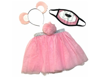 Light Pink Headband Tutu Tail FaceMask Bear Ears birthday party favors womens womans girls costume care colorful baby babies kid child adult