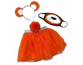 Orange Headband Tutu Tail Face Mask Bear Ears birthday party favors womens womans girls costume care colorful baby babies kid child adult