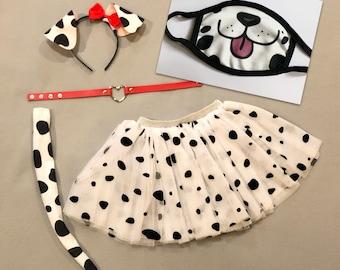 Dalmatian Puppy Dog Ears Tutu Tail Headband black white spots Dalmation Halloween costume animal baby children adult birthday party favors