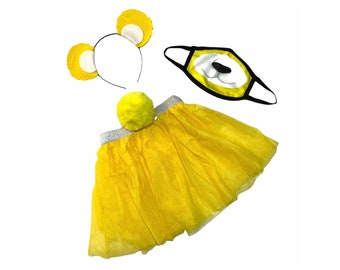 Yellow Headband Tutu Tail Face Mask Bear Ears birthday party favors womens womans girls costume care colorful baby babies kid child adult