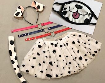 Dalmatian Dog Ears Headband Tail Tutu Iron On Spots Collar Dalmation Puppy Halloween costume baby toddler adult child stocking stuffer