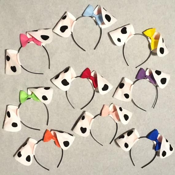 Dalmatian Puppy Dog Ears Headband Bow Black White Spots Etsy