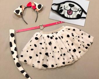 Dalmatian Puppy Dog Ears Headband Tutu Tail Face mask black white spots Dalmation baby children adult birthday party favor stocking stuffer