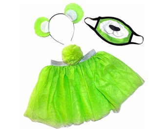 Lime Green Headband Tutu Tail Face Mask Bear Ears birthday party favors womens womans girl costume care colorful baby babies kid child adult