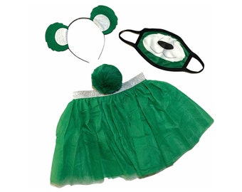 Kelly Green Headband Tutu Tail Face Mask Bear Ears birthday party favors women womans girl costume care colorful baby babies kid child adult