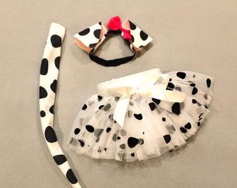 Elastic Baby Dalmatian Puppy Dog Ears Headband, Tutu, Tail pink bow spots Dalmation Halloween costume baby babies newborn infant toddler
