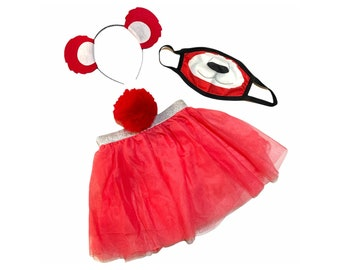 Red Headband Tutu Tail FaceMask Bear Ears birthday party favors womens womans girls costume care colorful baby babies kid child adult