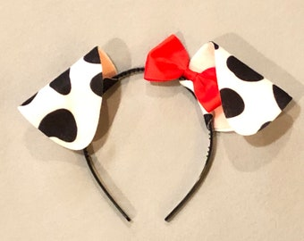 Dalmatian Ears Headband Red Bow Tutu Face Mask Tail Set party favors Dalmation Puppy Dog black spots Halloween costume baby children adult
