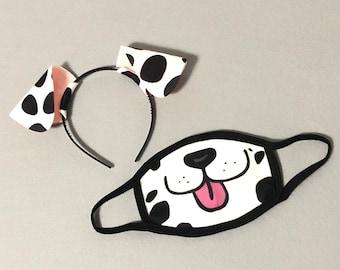 Dalmatian Face Mask Dog Ears Headband Tutu Tail spots Dalmation costume animal baby children adult birthday party favors stocking stuffer