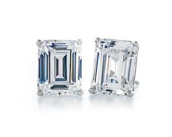 d9c6fbd0c Premium Quality Simulated Diamond CZ Hypoallergenic Nickel Free Sterling  Silver Stud Earrings Emerald Cut 7.5x5.5mm - 10x8mm