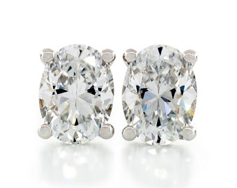 Oval Shape Fancy Diamond Cut Crystal White 7x5 - 10x8mm CZ 925 Sterling Silver Heavy Mounting Stud Earrings Rhodium Plated