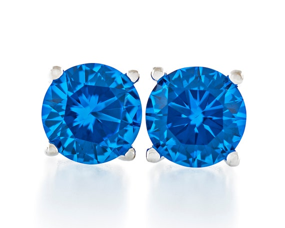 2.50 Ct Princess Genuine Blue Topaz Stud Earrings 6mm Sterling Silver 925