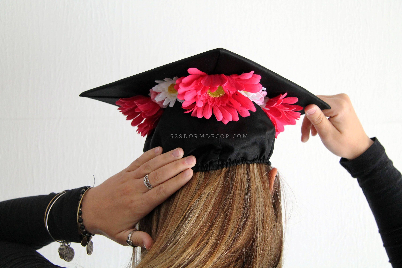 Pink Daisy Flower Crown Graduation Cap Etsy